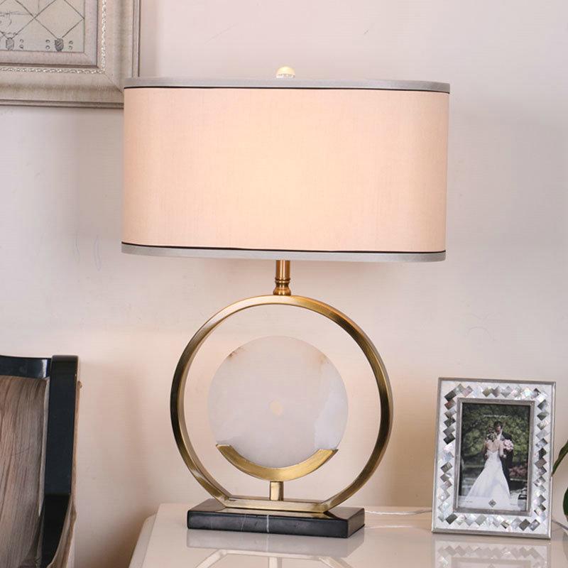 H68cm Cuivre Tissu Salon Lampe Chambre À Blanc Poser De Rond En Marbre Abat Jour Pour Élégant odCerxBEQW