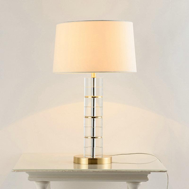 Chambre Fer Tissu Cristal Pour En Salon À H65cm Poser Abat De Transparent Blanc Lampe Jour UMpVSz