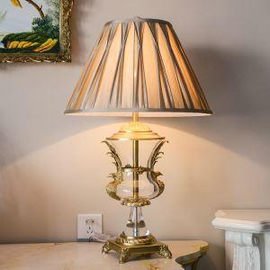 Lampe à poser en cuivre verre abat-jour de tissu H72cm or bas luxueux pour salon chambre