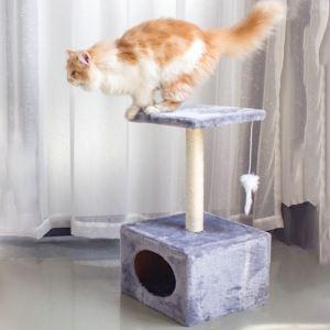 Étagère d'escalade avec nid griffoir niches colonne en bois velours pour chat