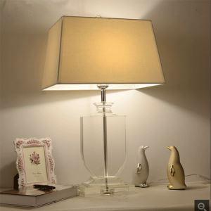 Lampe à poser en cristal abat-jour de tissu H68cm blanc bas transparent pour salon chambre