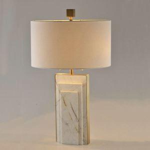 Lampe à poser en cuivre marbre abat-jour de tissu H70cm blanc rectangulaire pour salon chambre