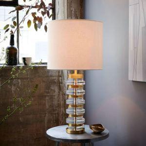 Lampe à poser en fer marbre abat-jour de tissu H68cm or colonne unique pour salon chambre