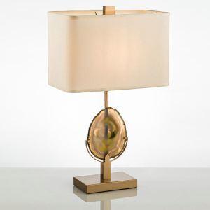 Lampe à poser en fer agate abat-jour de tissu H68cm or pour salon chambre