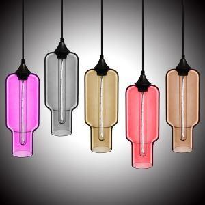 Suspension en verre lampe bulle H33cm luminaire coloris pour cuisine chambre salle