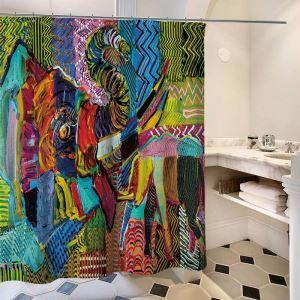 Rideau de douche imprimé peinture à l'huile d'éléphant pour salle de bain imperméable anti-moisissure
