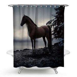 Rideau de douche impression 3D cheval noir pour salle de bain imperméable anti-moisissure