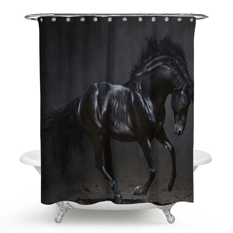 Rideau de douche impression 3d beau cheval noir pour salle - Anti moisissure salle de bain ...