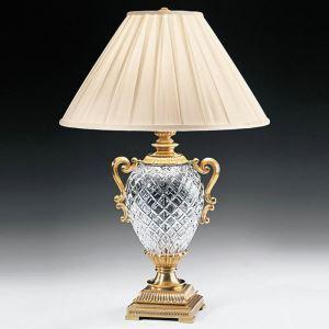Lampe à poser en fer verre abat-jour de tissu H72cm forme de trophée pour salon chambre