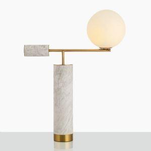 Lampe à poser en fer marbre abat-jour de tissu H65cm forme de balance pour salon chambre