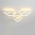 Plafonnier LED en acrylique L51cm 3 losanges blanc pour chambre salon