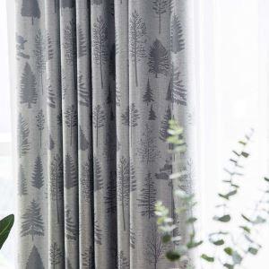 Rideau occultant imprimé en polyester pin pour chambre à coucher simple moderne