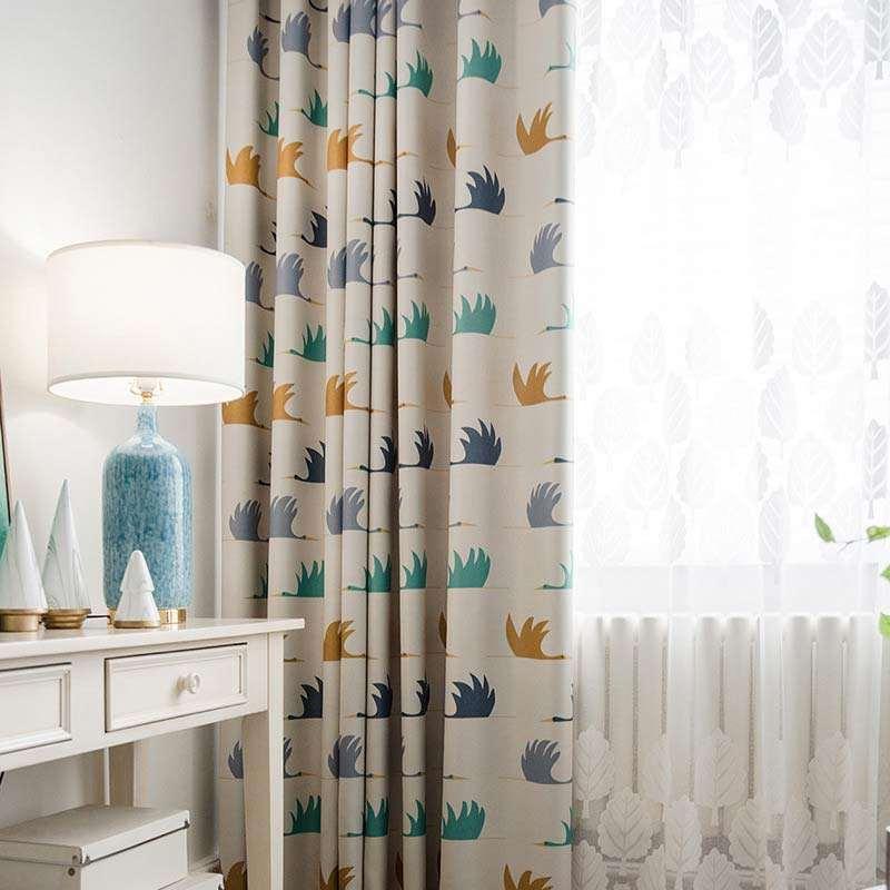 Rideau Occultant Imprime En Polyester Oie Cygnoid Pour Chambre D