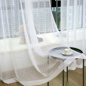 Voilage jacquard en polyester carreau blanc pour chambre à coucher simple