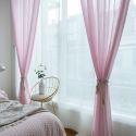 Voilage en polyester rose pour chambre à coucher simple