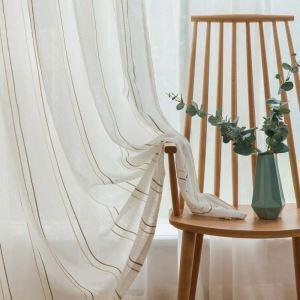 Voilage jacquard en lin rayure blanc pour chambre à coucher simple japonais