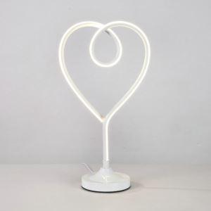 Lampe à poser LED en fer aluminium abat-jour d'acrylique H50cm cœur blanc pour salon chambre