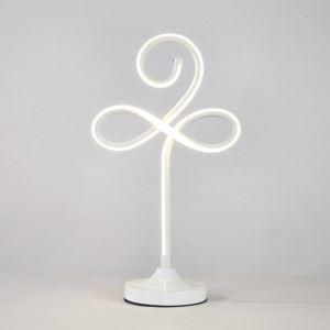 Lampe à poser LED en fer aluminium abat-jour d'acrylique H48cm trèfle blanc pour salon chambre