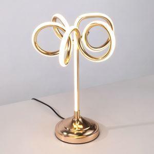 Lampe à poser LED en fer aluminium abat-jour d'acrylique H40cm marguerite or pour salon chambre