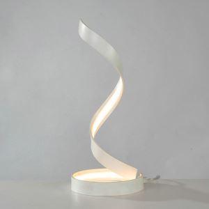 Lampe à poser LED en fer aluminium abat-jour d'acrylique H48cm ceinture or/blanc pour salon chambre