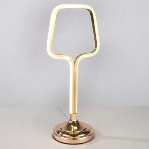 Lampe à poser LED en fer aluminium abat-jour d'acrylique H46cm décapsuleur or/blanc pour salon chambre