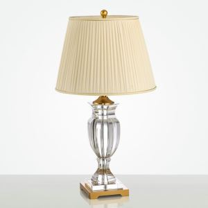Lampe à poser en fer cristal abat-jour de tissu H69cm forme de trophée transparent pour salon chambre