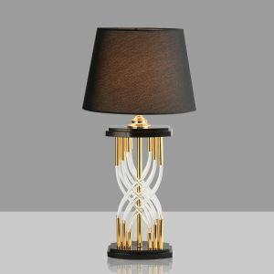 Lampe à poser en fer cristal abat-jour de tissu H70cm noir pour salon chambre