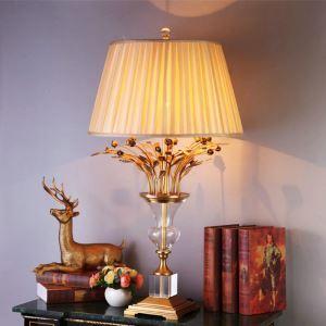 Lampe à poser en cuivre cristal abat-jour de tissu H80cm fleur or pour salon chambre