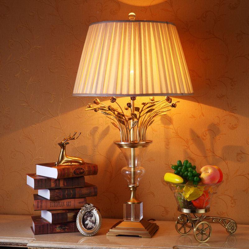 En Abat Salon Cristal À Pour Lampe Chambre H80cm Jour Fleur Poser Tissu Cuivre De Or FJT1clKu3