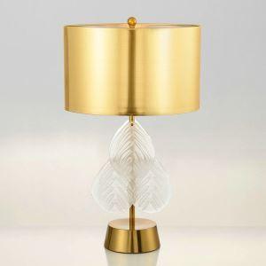 Lampe à poser en fer verre abat-jour de tissu H70cm blanc or feuille pour salon chambre