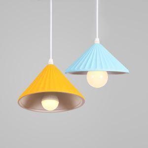Suspension en aluminium D19cm jaune/bleu pour salon chambre simple