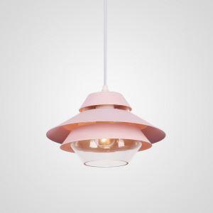 Suspension en aluminium abat-jour de verre D24cm rose/jaune/bleu 3 couches pour salon chambre