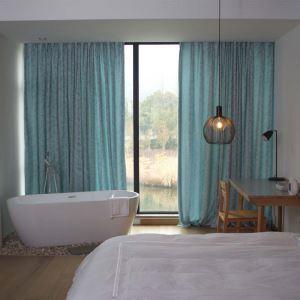 Rideau tamisant jacquard en chenille coton lin feuille pour chambre salon pastoral américain