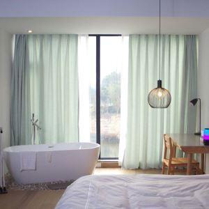 Rideau tamisant jacquard en chenille coton lin couleur pure pour chambre salon simple japonais