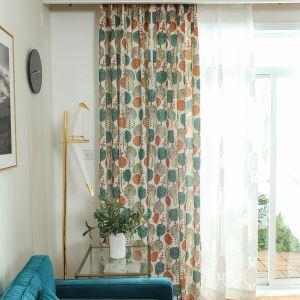 Rideau tamisant imprimé en polyester coton petit arbre pour chambre salon simple moderne