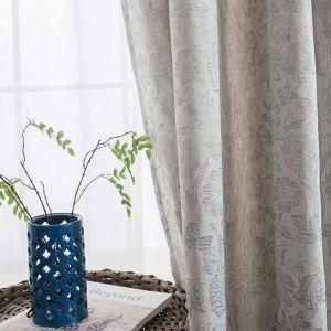 Rideau tamisant jacquard en polyester coton fleur plaine pour chambre salon simple japonais