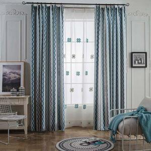Rideau tamisant jacquard en coton lin vague pour chambre salon simple