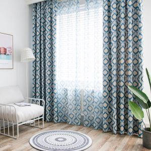 Afficher les détails pour Rideau tamisant bleu diamant abstrait pour chambre à coucher salon