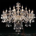 Lustre à pampilles baroque cristal à 15 lampes D 80 cm cognac pour salon
