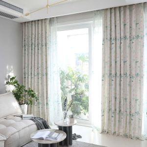 Rideau tamisant imprimé en polyester coton sakura pour chambre salon