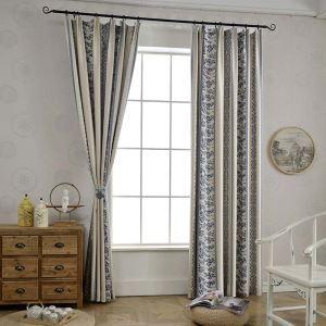 Rideau occultant jacquard en polyester coton motif géométrique unique pour chambre à coucher simple classique