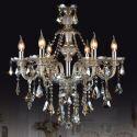 Lustre baroque Cristal Cognac à 6 lampes D63cm luminaire pour Salle Chambre salle à manger