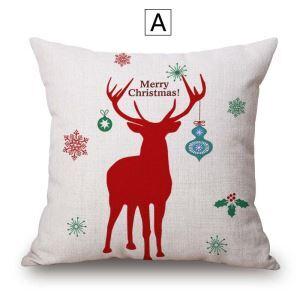 Taie d'coussin Noël en coton lin renne 4 modèles