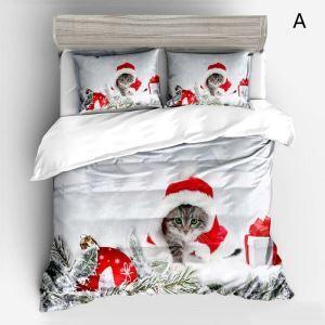 Noël housse de couette 230*250cm 1 drap 2 taies d'oreiller impression 3D chat chien 4 modèles