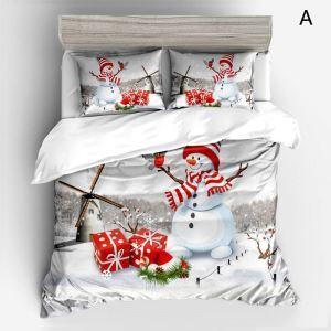 Noël housse de couette 230*250cm 1 drap 2 taies d'oreiller bonhomme de neige 4 modèles