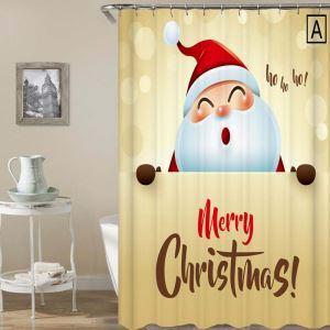 Rideau de douche Noël impression 3D décoration de Noël 4 modèles pour salle de bain imperméable anti-moisissure