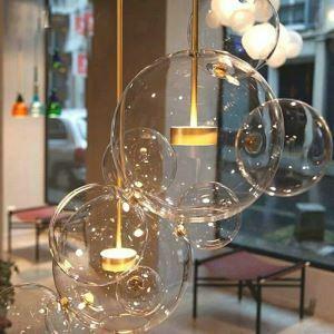 Suspension en métal verre D30cm 3 modèles plaquage boule transparent or pour chambre salle simple moderne