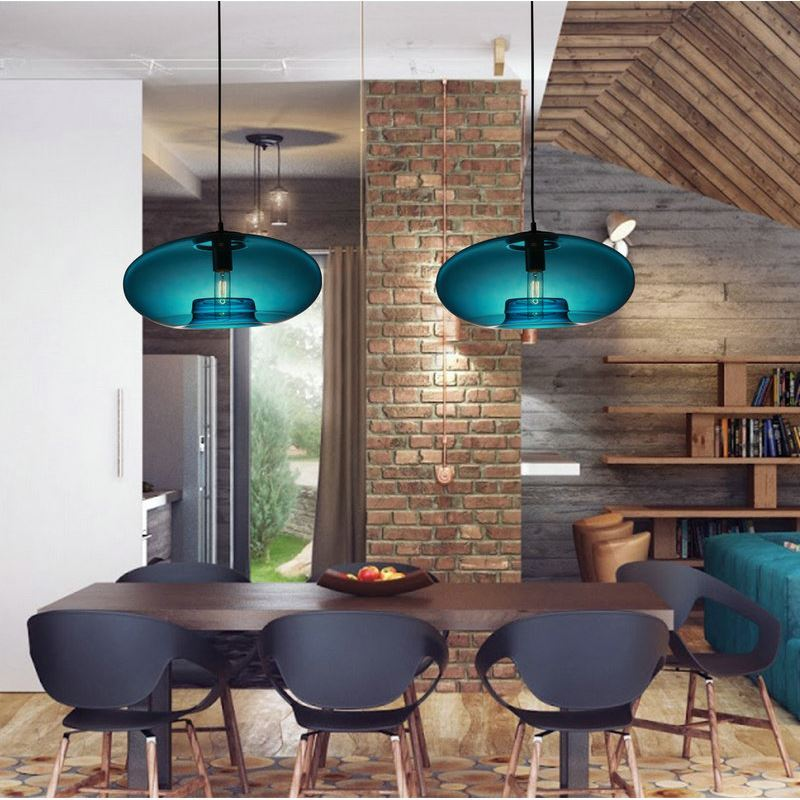 D40cm Luminaire Suspension Restaurant Cuisine Pour Bleu Verre TFJlK15u3c