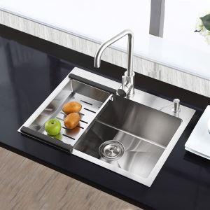 Moderne évier à encastrer en acier inoxydable 304, 1 bac de renforcement fait à la main avec panier de vidage et distributeur de savon pour cuisine