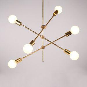 Suspension en métal D105/100/90cm plaquage 2/4/6 lampes ligne or pour chambre salle simple